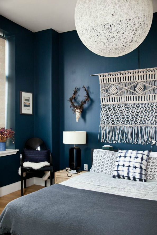 chambre a coucher mur bleue - Chambre Bleu Canard
